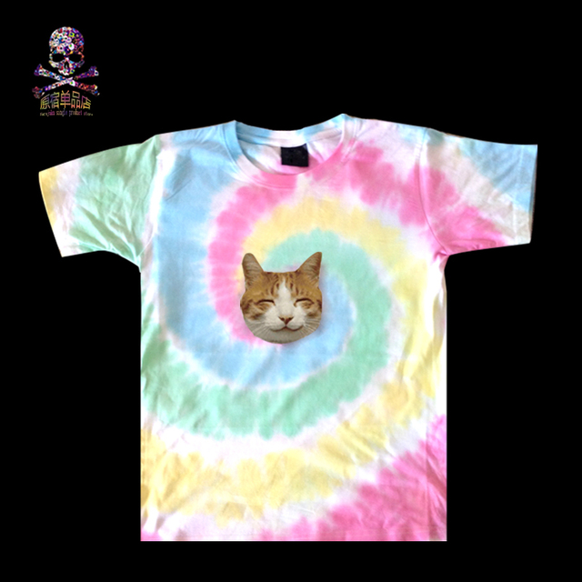 M-XL  zipper 3d t-shirts tie dye t-shirt guided missile galaxy hemp t-shirts iswag skull eyes crown t shirt