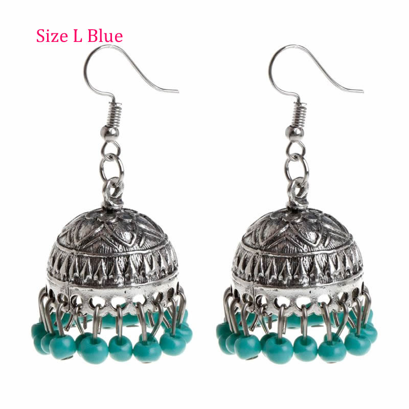 1 Pair Ethnic Earrings Dome Pendant Tassel Exquisite Elegant Vintage Charms Women Jewelry Dangle India Cage Drop Fashion N6_A 1pcs ap003 gx12 2 3 4 5 6 7 pin 12mm male