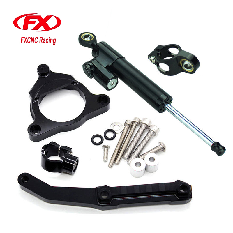 FXCNC Aluminum Adjustable Motorcycles Steering Stabilize Damper Bracket Mount Kit For Kawasaki Z800 2013-2015 2014 Moto Support adjustable steering stabilize damper bracket mount kit for honda cbr1000 2008 2014 t6061 t6 aluminum a set cnc fxcnc gold