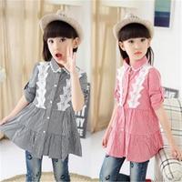 Girls Shirt 2017 Spring Models The New Korean Children S Clothing Big Virgin Butterfly Lace Long