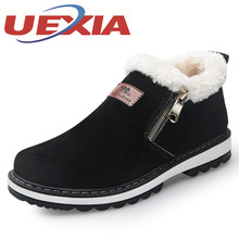 Winter Mens Casual Warm Shoes Black Short Plush Snow Boots Outdoor Mens Fashion Slip On Flat Work Shoes Botas Chaussures Homme