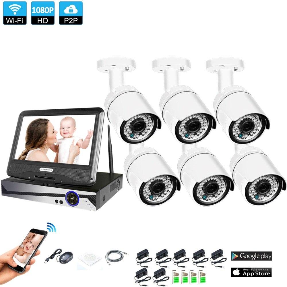 Sans fil Système de Surveillance Réseau 10.1 LCD Moniteur NVR Enregistreur Wifi Kit 6CH 1080 p HD Vidéo Entrées 6 ps 2.0MP Caméra de Sécurité