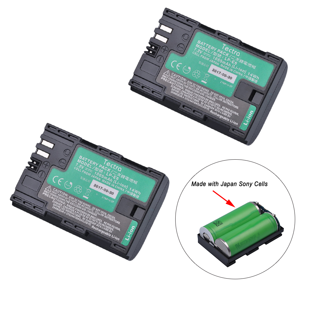 2Pcs LP-E6 LP-E6N Battery with High Quality Japan Cells for Canon EOS 5DS 5D Mark II Mark III 6D 7D 60D 60Da 70D 80D