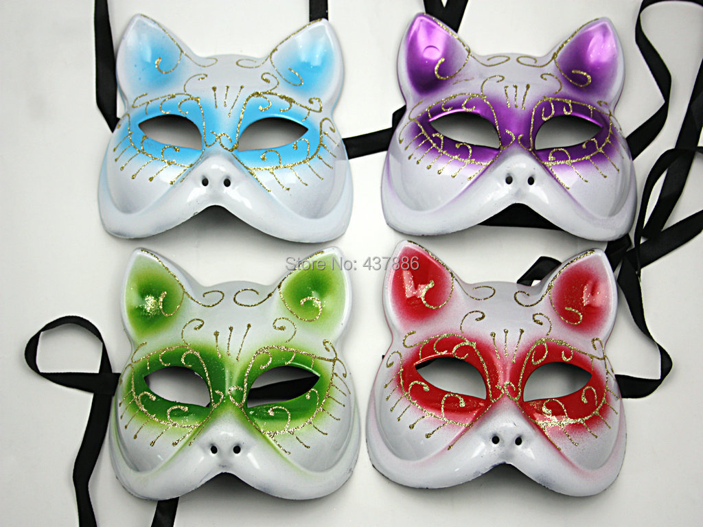 2 Pieces Colored Drawing Catwoman Mask Halloween Catwomen Half Face Masks Bulk Masquerade-in