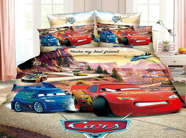 Lightning McQueen Car Bedding Set Childrenu0027s Boyu0027s Bedroom Decor Single  Twin Size Bed Sheets Quilt Duvet
