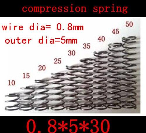50 pcs 0.8mm 0.8*5*30mm 0.8x30mm petit ressort de compression de fil de ressort de compression diamètre extérieur de ressort = 5mm longueur = 30mm