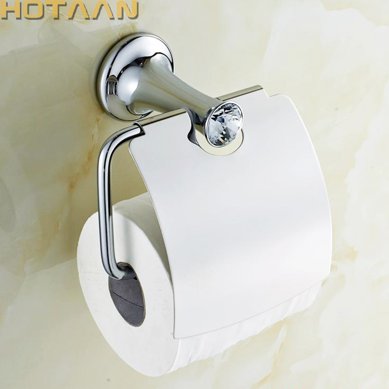 Bathroom Chrome Paper Holder With Crystal Wall Paper Roll Rack Hangs Paper Towel Holder Archaize Waterproof Toilet Paper  Holder