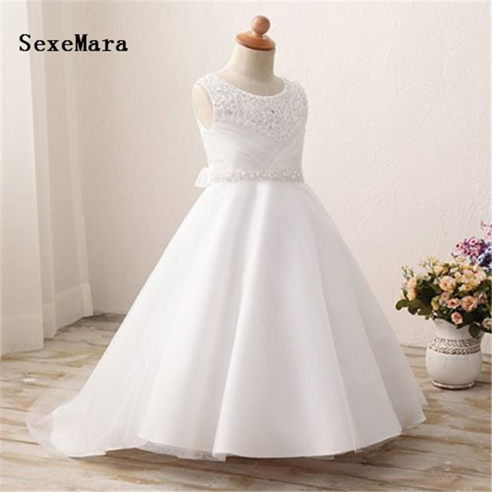Real Picture Good Quality White Flower Girls Dress for Wedding Beaded Tulle Satin New Girls First Communion Dress Birthday GownReal Picture Good Quality White Flower Girls Dress for Wedding Beaded Tulle Satin New Girls First Communion Dress Birthday Gown