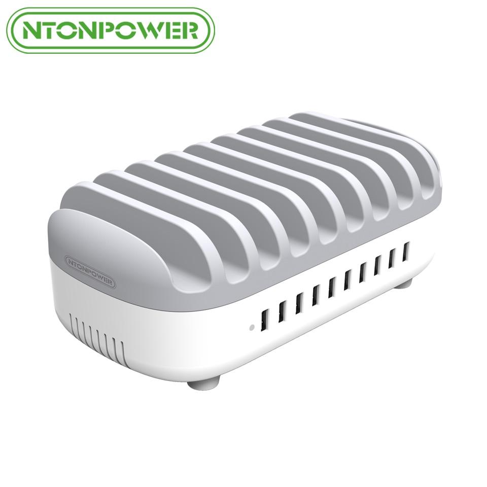 NTONPOWER рабочего Multi зарядка через usb док-станция с держатель телефона организатора 10 Порты 2.4A быстрой зарядки для iPad/iPhone/ xiaomi