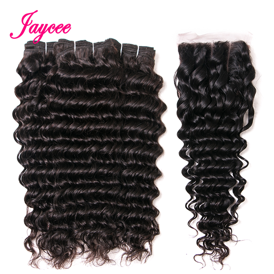 Jaycee Hair Brazilian Hair Weave Bundles With Closure 3 Bundle With Lace Closure Remy Human Hair Deep Wave Bundles With Closure