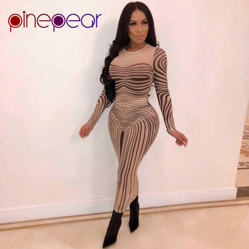 ff47c305587 PinePear Stripe Print Sheer Mesh Maxi Dress 2019 Women Long Sleeve Sheath  Elastic Transparent Sexy Club