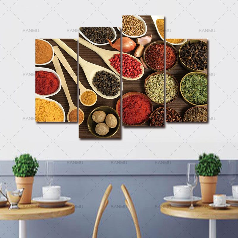 Colorful Spices 4 Panels Wall Art Canvas Paintings Wall Decorations for Living Room Home Artwork Giclee Wall Artwork Home Decor