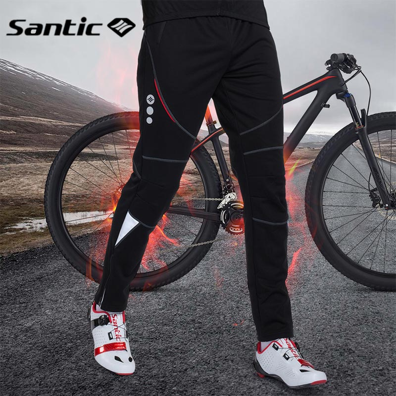 Santic Cycling Pants Men Winter Fleece Thermal Cycling Trousers Long Bike MTB Pants Motocross Downhill Running Sports Clothing
