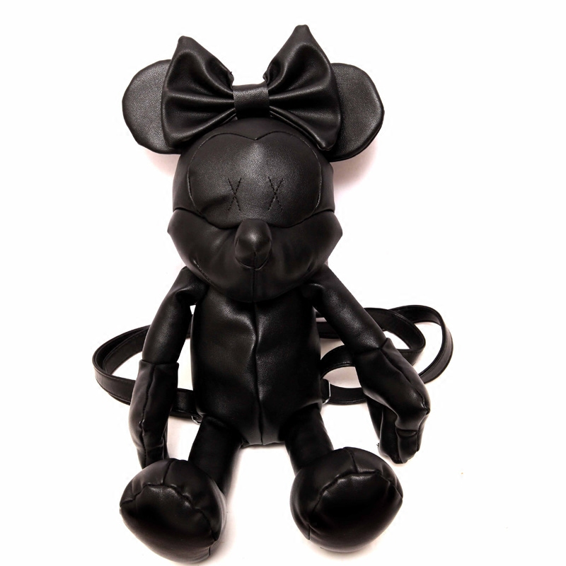 New Women minnie black cartoon mickey mouse Pu leather backpack cute lovely girl ladies daypack Girls