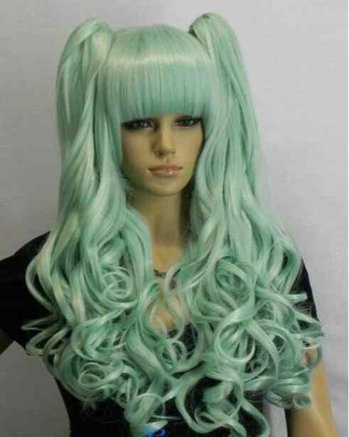 Lori Dividir Tipo peruca Luz verde Mix Ondulado Longo Lolita Cosplay Peruca Rabo De Cavalo Frete Grátis