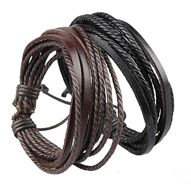 Unisex Leather Braided Rope Bangle
