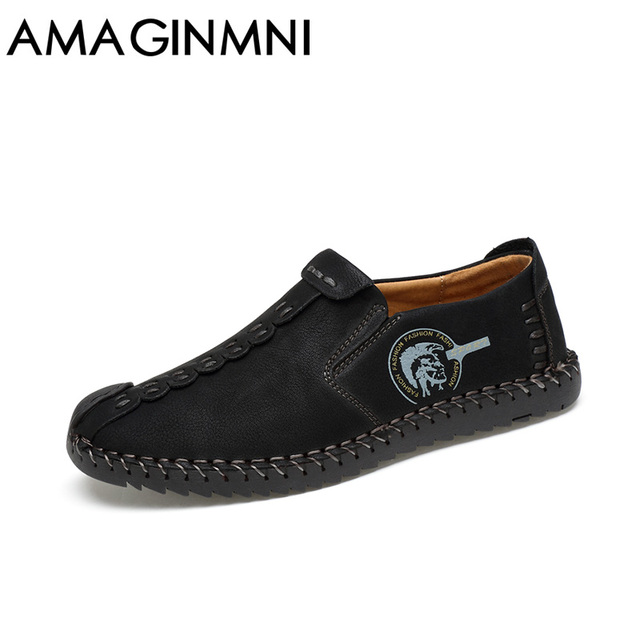 AMAGINMNI 2017 New Comfortable Casual Shoes Loafers Men Shoes Quality Split Leather Shoes Men Flats Hot Sale Moccasins Shoes 5
