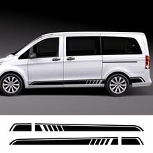2 pçs carro longo lado listra adesivo auto vinil filme decalques automóveis para mercedes benz vito viano v classe w447 v260 acessórios