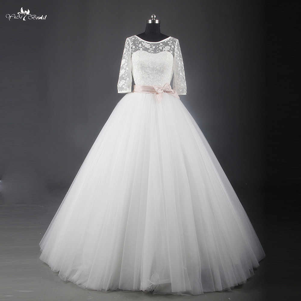 Pas cher Simple Robes De Mariée 2015 Nouveau Blanc Bateau Cou Tulle jupe robe de Bal De Mariage Robe Avec L'arc Fait En Chine RSW702