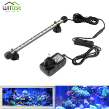 Aquarium Fish Tank 19cm 28cm 38cm 48cm LED Light White Blue Bar Submersible Waterproof Clip Lamp Decor EU plug US plug UK plug 72 led white blue light aquarium top lamp w holder ac 100 240v eu plug