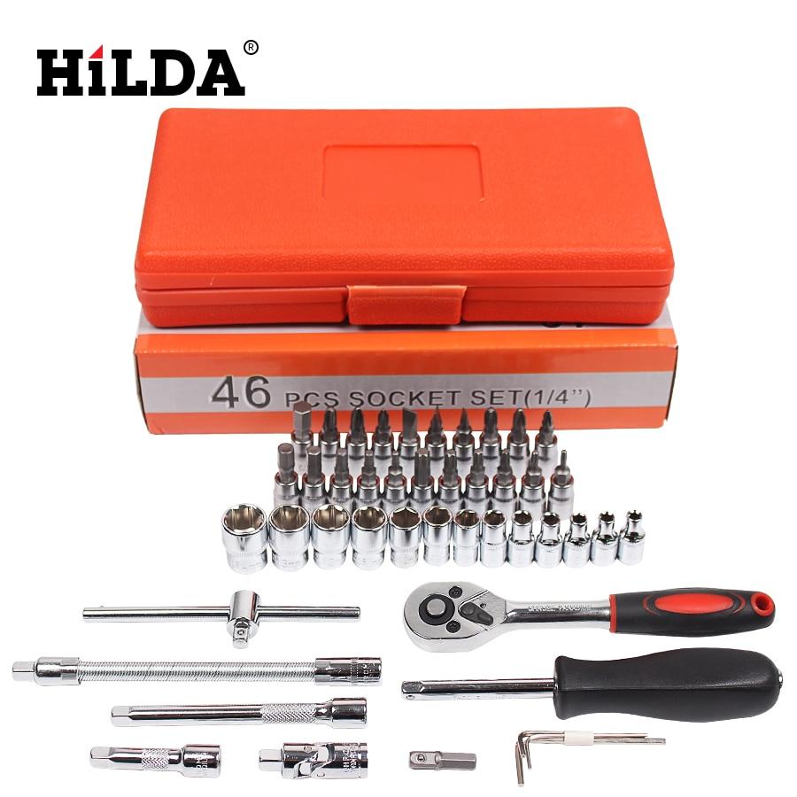 Tools : HILDA 46 pcs Car Repair Tool Sets Combination Tool Wrench Set Batch Head Ratchet Pawl Socket Spanner Screwdriver socket set