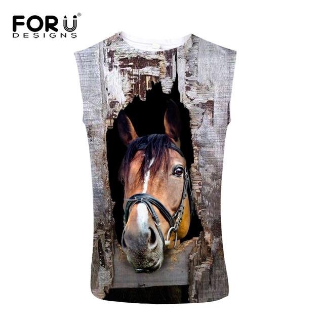 Forudesigns super fashion parte superior do tanque dos homens de cavalo 3d impressão streetwear legal clothing body fitness homem colete sem mangas blusa masculina