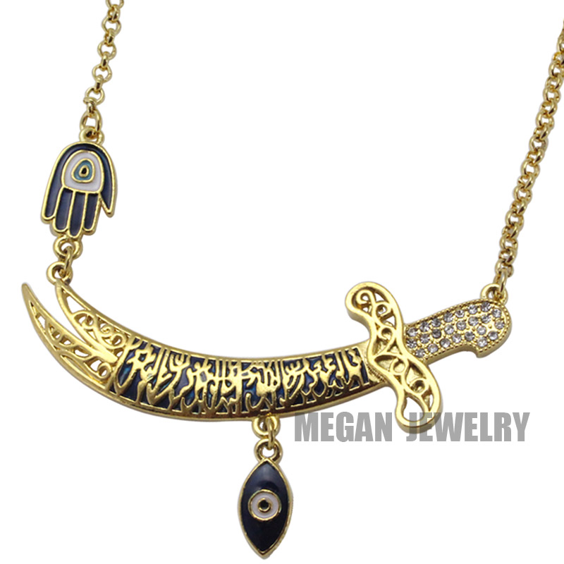muslim turkish evil eye Imam Ali Sword Hamsa Hand Of Fatima necklace, islam jewelry fashion 55cm chain