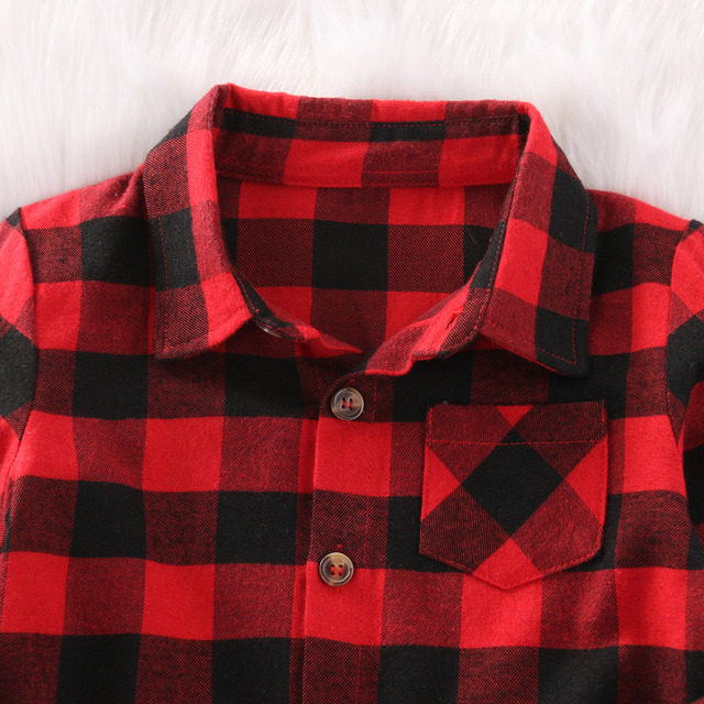 Pudcoco Baby Boys Plaid Shirt Girl Cotton Plaid Shirt Kids Red Plaid Blouse Baby Girl Autumn Tops Toddler Casual Blouse