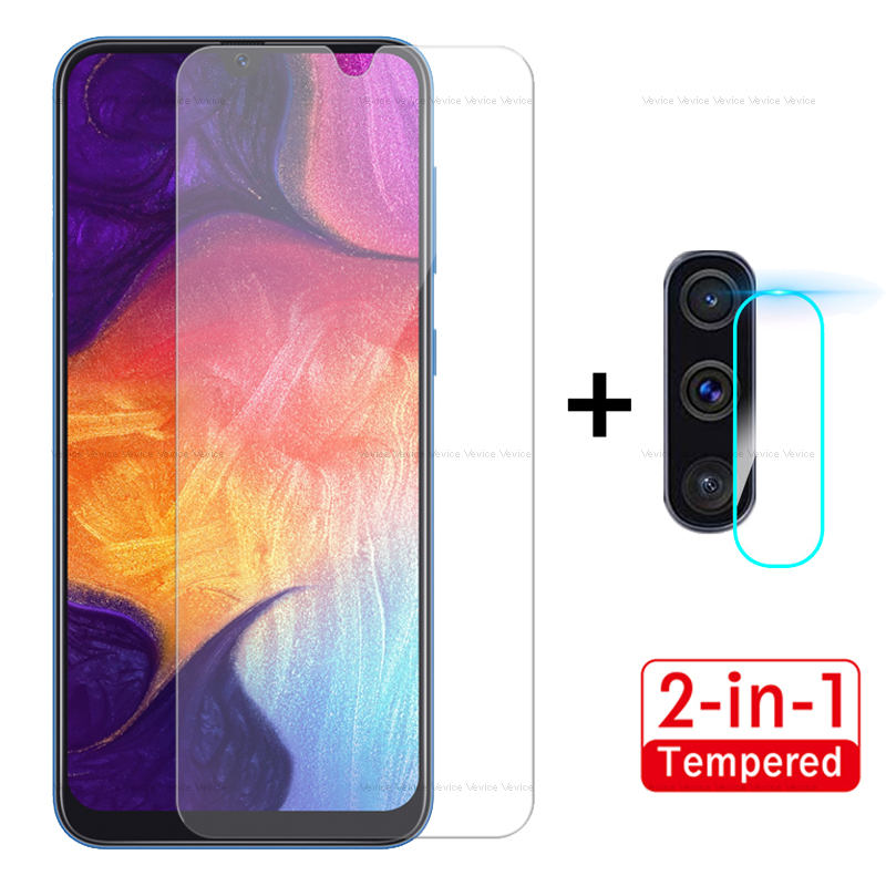 Front Tempered Glass+Back Camera Glass 2PCS For Samsung Galaxy A50 A40 A70 A60 M40 M20 2019 A7 2018 Screen Protector On A 50 70