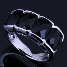 Gorgeous Black Cubic Zirconia 925 Sterling Silver Ring For Women V0622