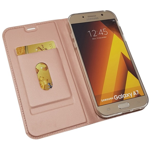 Leather Skin Wallet Case for Galaxy Samsung A7 2018 A8 A6 A6+