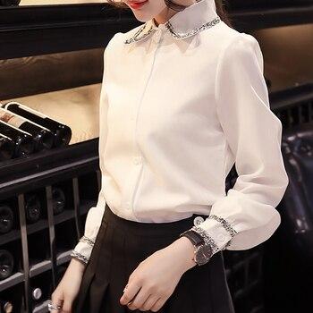 85ad1959dbb Product Offer. Белая блузка женская 2018 с длинным рукавом Женские топы  офисные рубашки ...