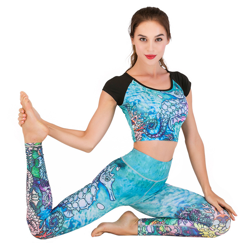 2019 scorching yoga high yoga set printing sports activities operating health dance new skilled yoga clothes ladies fitness center set yoga leggings+Tops Yoga Units, Low cost Yoga Units, 2019...