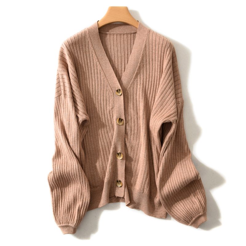 LHZSYY 2019 Spring New Womens Wool Knit Cardigan Solid color V-Neck Large size Wild Jacket Autumn Winter Fashion Loose Sweater