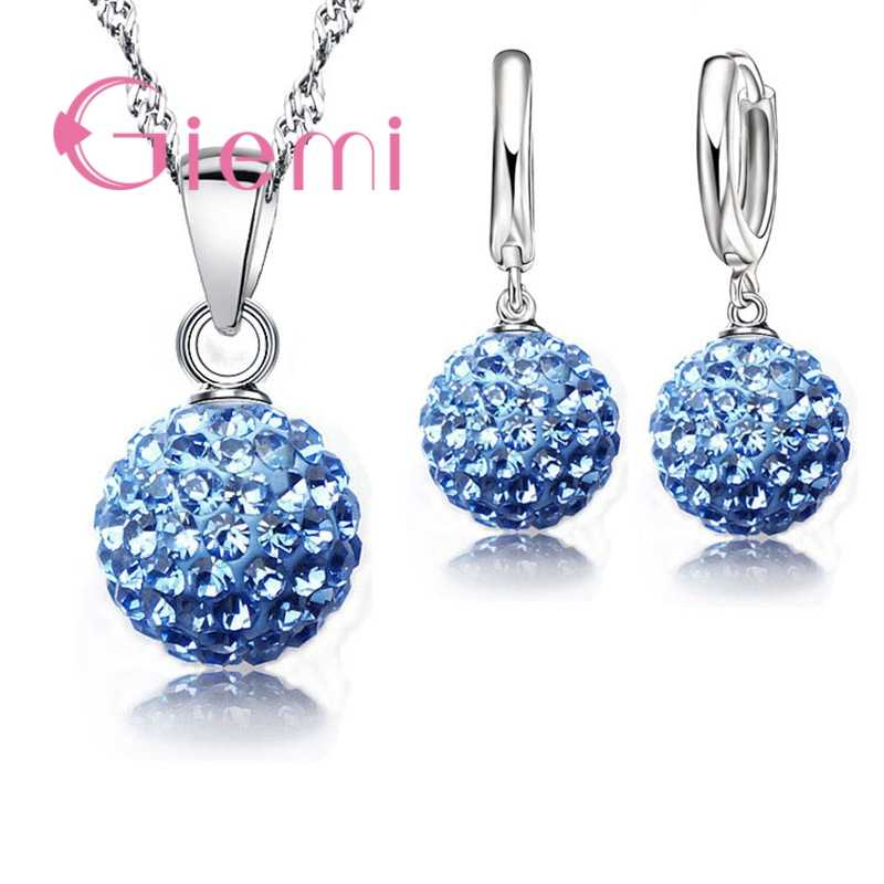 Big Promotion Jewelry Sets 925 Sterling Silver  Austrian Crystal Pave Ball Lever Back Earring Pendant Necklace for Woman