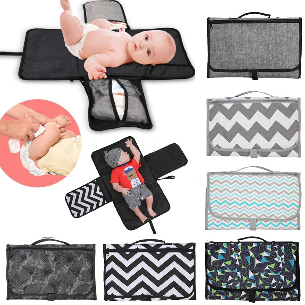 Waterproof Foldable Baby Diaper Pad Changing Mat Nappy Bag With Storage Pockets
