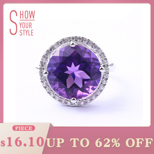 Amethyst Sterling Silver Ring For Women 8 Carats Amethyst Crystal Top Quality Am