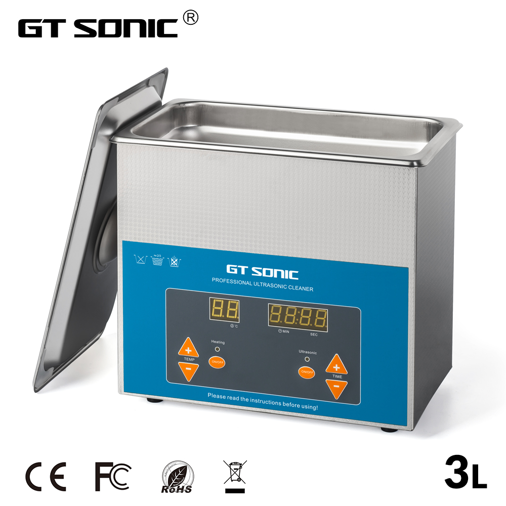 GTSONIC VGT 1730QTD Ultrasonic Cleaner 3L 100W with Digital Display Heating Basket Ultrasonic Bath