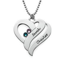 2016 nieuwe aankomst aangepaste hart ketting voor vrouwen populaire ontwerp naam hanger ketting zilveren vergulde geboortesteen ketting