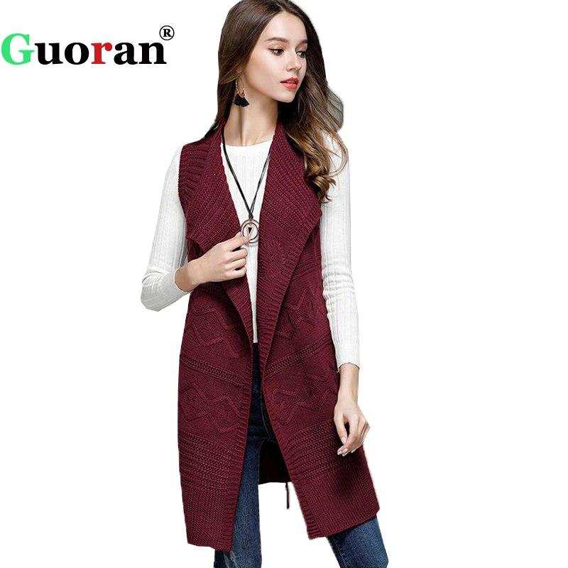 {Guoran} Sleeveless Women Knitted Jackets With Belt Sweater Waistcoat Female Open Stitch 2017 New Knitwear Knitting Cardigans