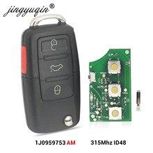 Пульт дистанционного управления jingyuqin 1J0959753AM для VW Beetle Golf Passat Jetta, 315 МГц, ID48 1J0 959 753 AM 5FA008399-30 2000-2006, брелок