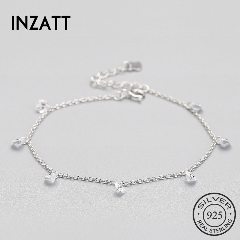 INZATT Classic Minimalist Crystal Water Drop Bracelet For Women Wedding Party Charm 925 sterling Silver Fine Jewelry 2018 Gift