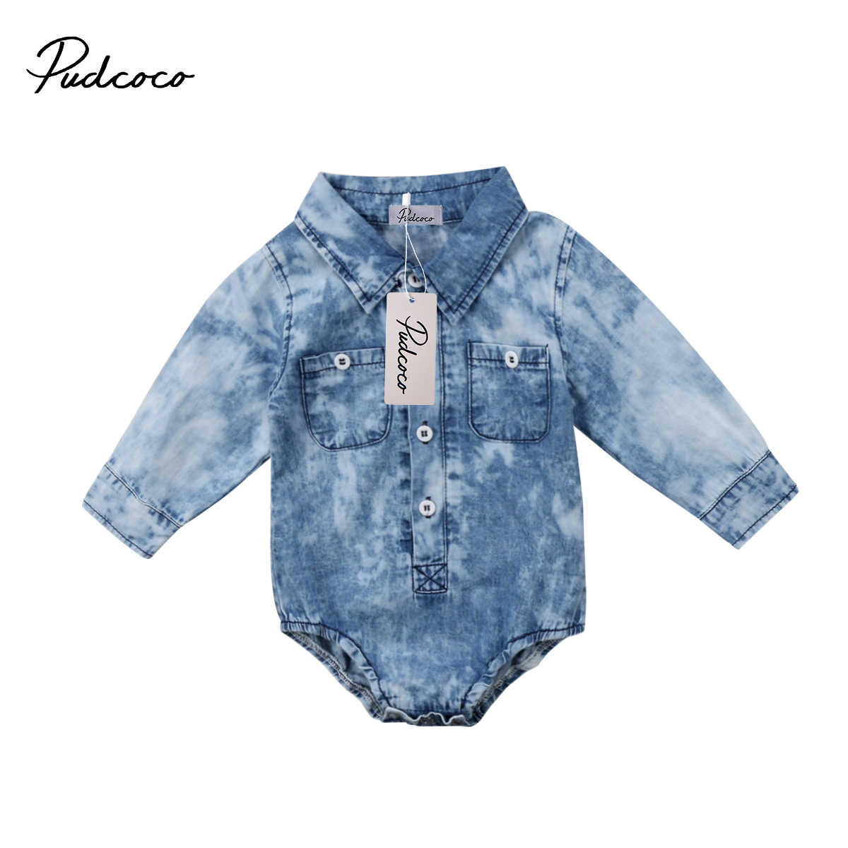 2018 Brand New Newborn Toddler Infant Baby Boy Denim Clothes Bodysuit T-shirt Jumpsuit Outfit Pocket Long Sleeve Clothes