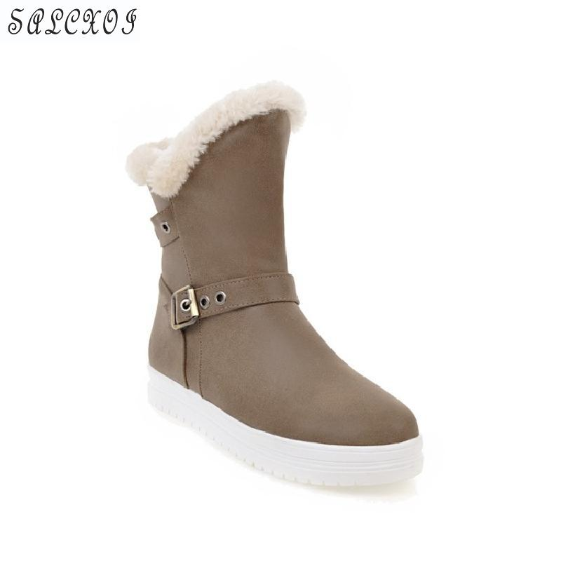 2018 Salcxoi  Boots Women Winter Boots Ankle Boots slip on winter  Shoes Woman flat heel grey big snow boot free shipping &118 slip on winter boots stretch lycra