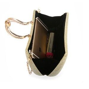 Image 4 - Lüks ay kadınlar kristal U elmas toka el çantası glitter gümüş akşam çantalar altın debriyaj parti çanta kadın çanta