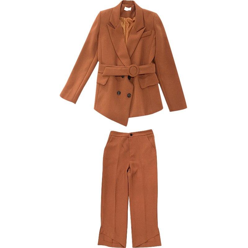 Primavera y otoño nueva moda temperamento pequeño Traje + Pantalones  Pantalón ancho dos piezas juegos fb728712e38f