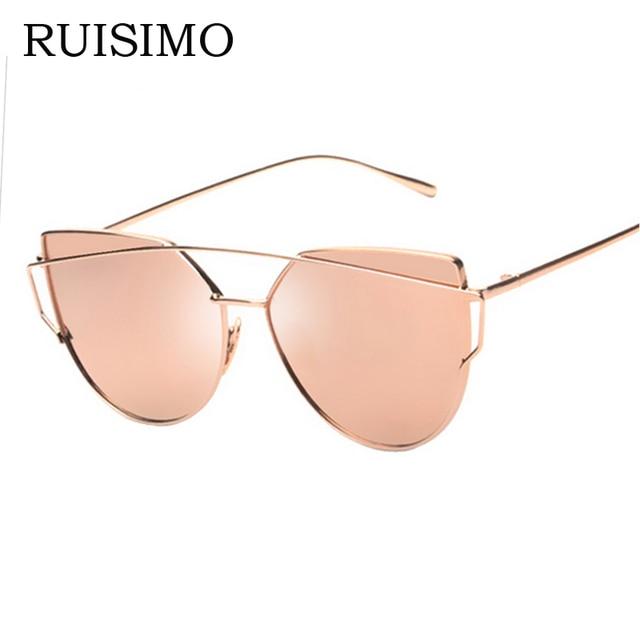 Women Cat Eye Sunglasses ladies Classic Brand Designer Twin-Beams Mirror sun glasses Flat Panel Lens Oculos De Sol Masculino