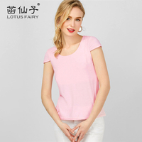 Lotus Fairy Female T Shirt Back With Hollow Short Sleeve Cute Pink Top Tee For Girl