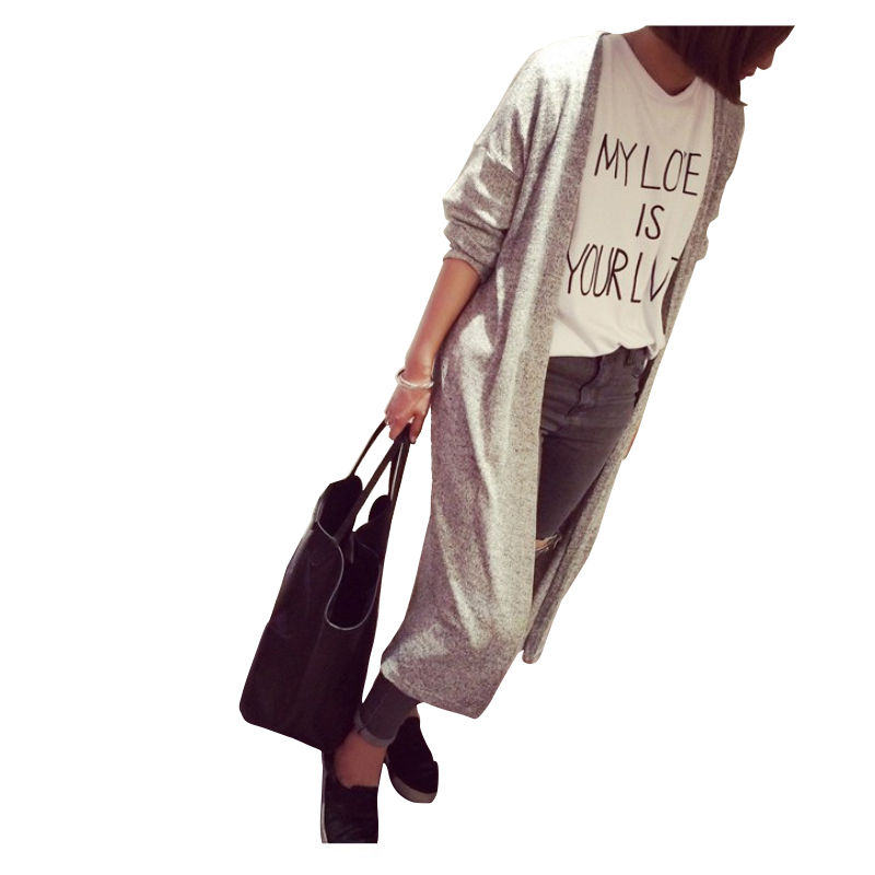 2018 New Free Shipping Cardigan Gray Black Women Sweater Casual Coat Lady long Sweaters Cardigans SW100