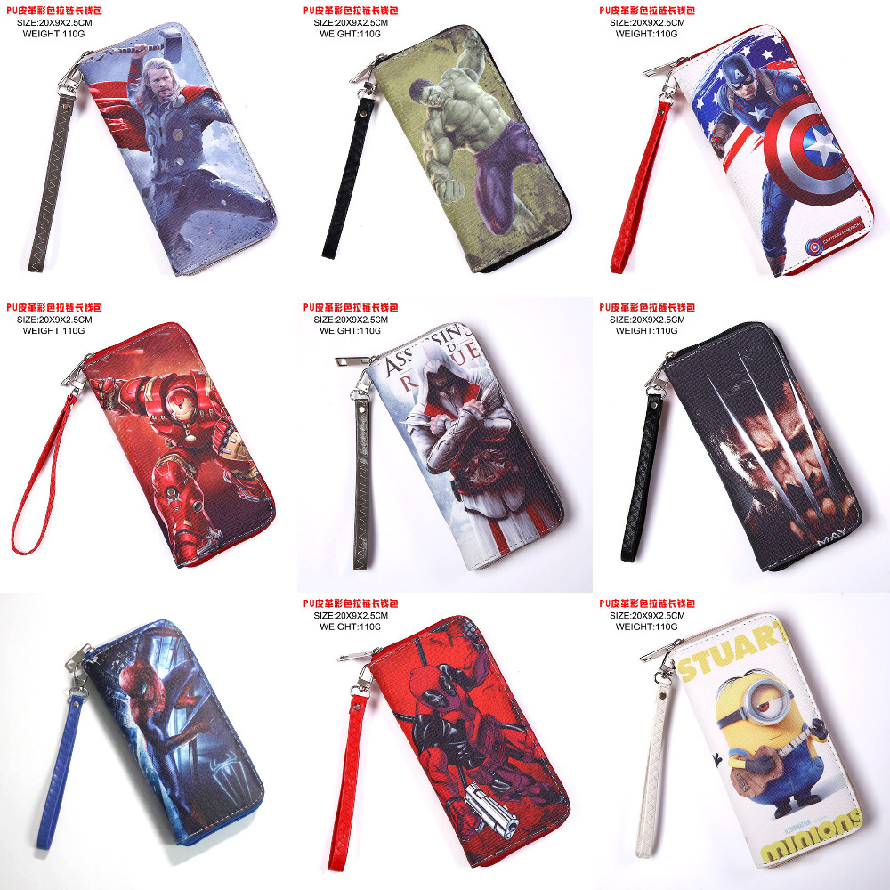 Big Hero 6/Assassin's Creed/X-Men/Hulk/Captain America/Deadpool/Spider Man/Thor etc PU Long Purse/Wallet with Zipper marvel comic stationery pencil purse case superman batman captain america spider man iron men deadpool long zipper pen wallets